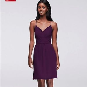 David's Bridal Short Bridesmaid Dress Plum